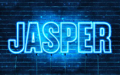 Jasper, 4k, wallpapers with names, horizontal text, Jasper name, blue neon lights, picture with Jasper name