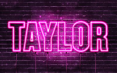 Taylor, 4k, wallpapers with names, female names, Taylor name, purple neon lights, horizontal text, picture with Taylor name