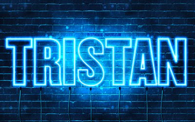 Tristan, 4k, wallpapers with names, horizontal text, Tristan name, blue neon lights, picture with Tristan name
