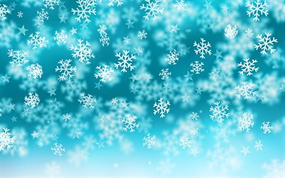 blue snowflakes background, 4k, stars, blue winter background, white snowflakes, glare, winter backgrounds