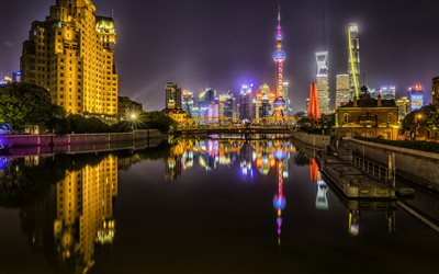 Shanghai, Oriental Pearl Tower, skyscrapers, night city, modern buildings, modern architecture, Shanghai cityscape, China, Television Tower