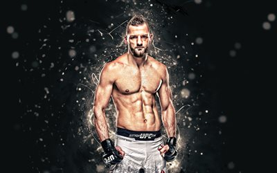 David Zawada, 4k, white neon lights, german fighters, MMA, UFC, Mixed martial arts, David Zawada 4K, UFC fighters, MMA fighters