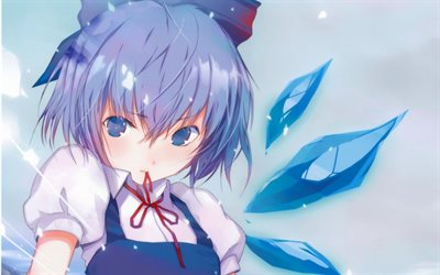 Cirno, Touhou Project, portrait, japanese manga, anime characters, Embodiment of Scarlet Devil