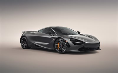McLaren 720S, 2019, front view, exterior, gray sports coupe, tuning 720S, new gray 720S, British cars, McLaren