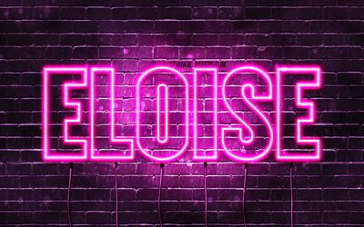 Eloise, 4k, wallpapers with names, female names, Eloise name, purple neon lights, horizontal text, picture with Eloise name