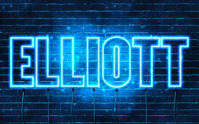 Elliott, 4k, wallpapers with names, horizontal text, Elliott name, blue neon lights, picture with Elliott name