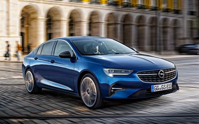 2020, Opel Insignia Grand Sport, 4K, front view, exterior, new blue Insignia Grand Sport, blue sedan, German cars, Opel