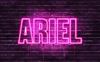Ariel, 4k, wallpapers with names, female names, Ariel name, purple neon lights, horizontal text, picture with Ariel name