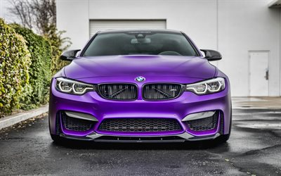 4k, Vorsteiner, tuning, BMW M4, front view, 2019 cars, F82, tunned m4, supercars, orange m4, 2019 BMW M4, german cars, violet F82, BMW