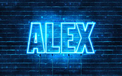 Alex, 4k, wallpapers with names, horizontal text, Alex name, blue neon lights, picture with Alex name