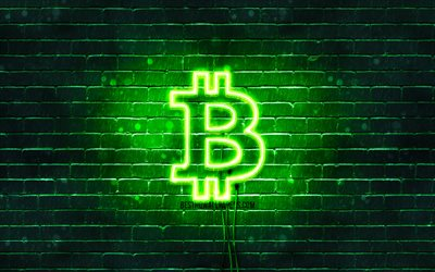 Bitcoin green logo, 4k, green brickwall, Bitcoin logo, cryptocurrency, Bitcoin neon logo, Bitcoin