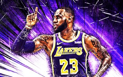 LeBron James, grunge, arte, NBA, i Los Angeles Lakers, stelle di basket, LeBron Raymone James Sr, viola astratto raggi, il basket, LA Lakers, creativo, LeBron James Lakers