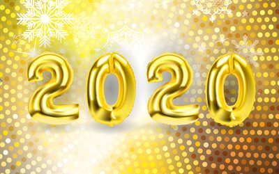 Happy New Year 2020, 4k, golden balloons, 2020 3D digits, xmas decorations, 2020 3D art, 2020 concepts, 2020 on golden background, 2020 year digits