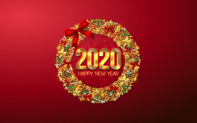 Happy New Year 2020, Red 2020 background, Christmas, 2020 concepts, Christmas frame, Golden Christmas Ornaments, 2020 New Year