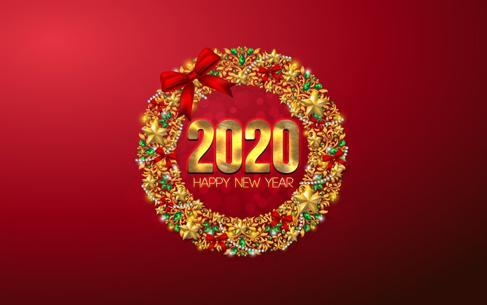 Download Wallpapers Happy New Year 2020 Red 2020 Background