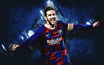 Lionel Messi, blue stone background, FC Barcelona, Catalan football club, creative art, Leo Messi, La Liga, football, Spain