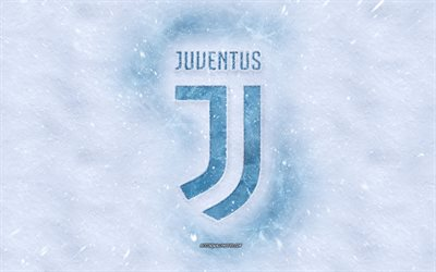 Juventus FC logo, winter concepts, snow texture, Italian football club, Serie A, football, Juventus logo in the snow, snow background, Juventus FC emblem, winter art, Juventus FC