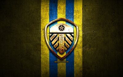 Leeds United FC, golden logo, EFL Championship, yellow metal background, football, Leeds United, english football club, Leeds United logo, soccer, England