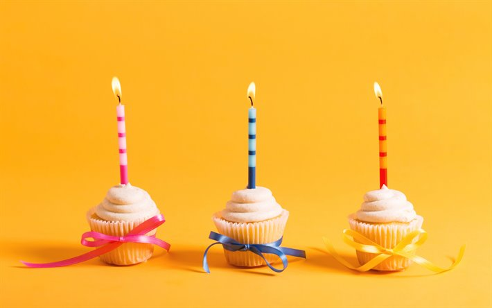 Download Wallpapers Happy Birthday Cupcakes Yellow Birthday Background Cupcakes With Candles Dessert For Desktop Free Pictures For Desktop Free