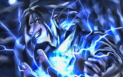 Sasuke Uchiha, 4k, Naruto characters, blue lightings, manga, artwork, Naruto, Sharingan