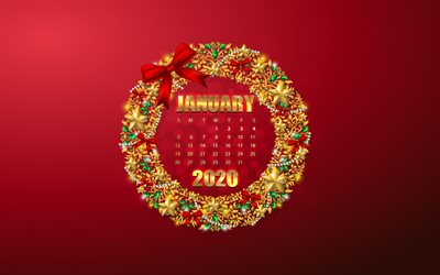 Download wallpapers January 2020 Calendar, red background ...