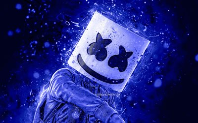 DJ Marshmello, Christopher Comstock, dark blue neon lights, 4K, american DJ, superstars, music stars, Marshmello 4K, dark blue backgrounds, creative, Marshmello, DJs