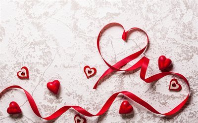 Valentines Day, red ribbons, red heart, romance