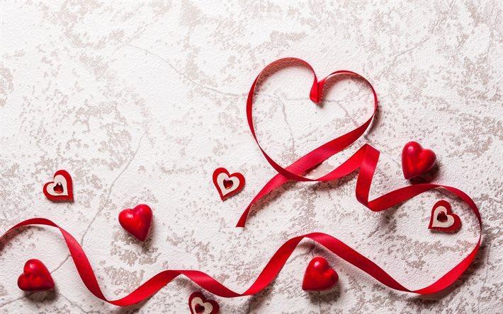 Scarica sfondi il giorno di san valentino nastri rossi - Colore del giorno di san valentino ...