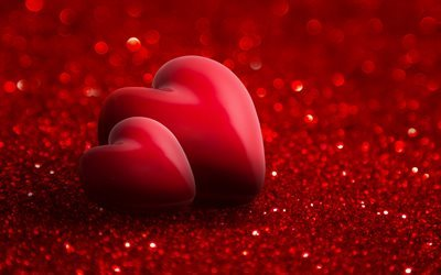 3d red heart, Valentines Day, heart, romance