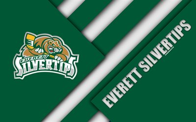Everett Silvertips, Washington, estados UNIDOS, WHL, 4K, de la American Hockey Club, material, diseño, logotipo, verde, blanco abstracción, Western Hockey League