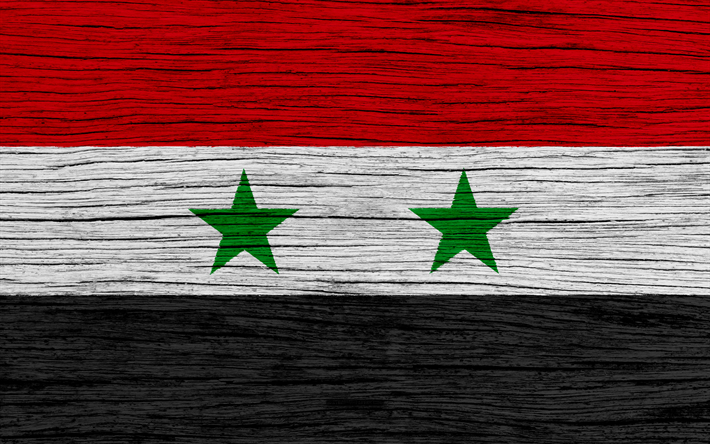 Flag of Syria, 4k, Asia, wooden texture, Syrian flag, national symbols, Syria flag, art, Syria