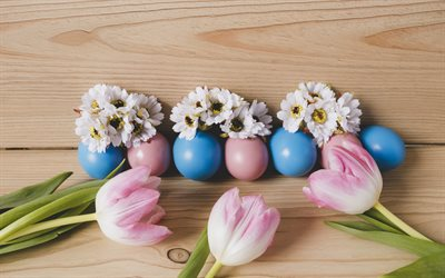 Easter, pink tulips, Easter colored eggs, April 1, 2018, Easter decoration