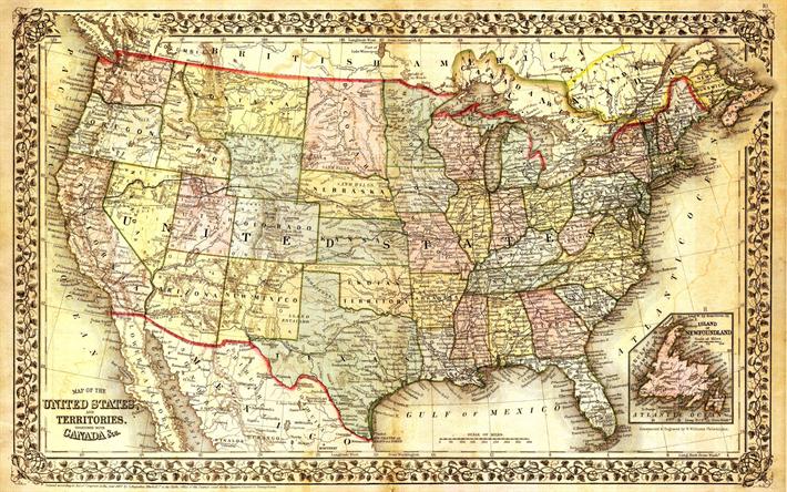 Descargar Fondos De Pantalla El Mapa De Estados Unidos Mapa Antiguo Vintage Retro Mapa De Los Estados Unidos Los Estados Americanos Mapa Estados Unidos Libre Imágenes Fondos De Descarga Gratuita