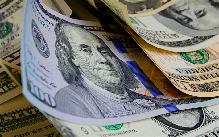 american dollars, money background, finance concepts, dollars, bills, 100 dollars, Benjamin Franklin, money