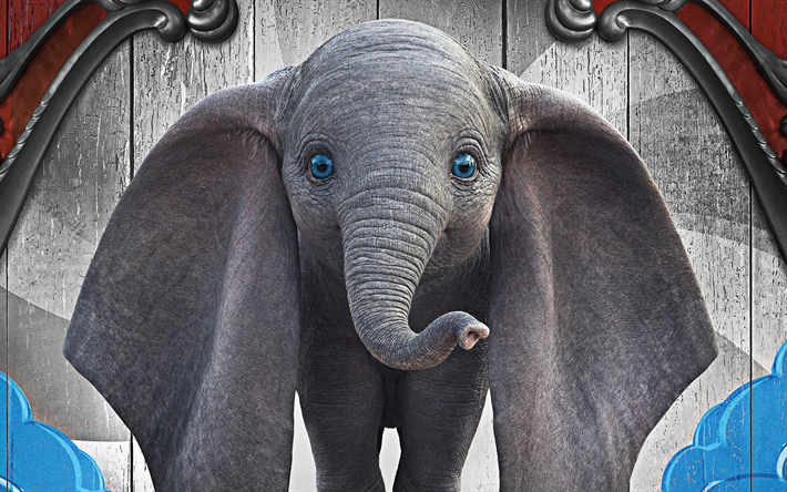 Dumbo, 2019, promo, 4k, poster, 3d elephant, new movie about an elephant, main character, elephant