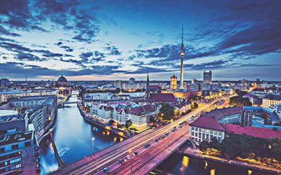 Berlin, 4k, morning, capital, Berlin TV Tower, cityscapes, Germany, Europe