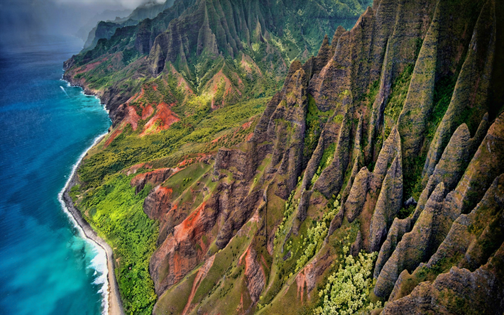Hawaii, mountains, coast, sky, clouds, ocean, USA, America, HDR
