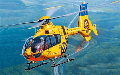 Eurocopter EC135, ADAC, rescue helicopter, light helicopter, Airbus Helicopters H135, modern helicopters