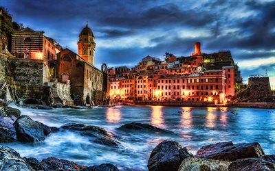 Vernazza, nightscapes, HDR, italian cars, Cinque Terre, Italy, Europe