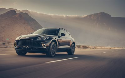 Aston Martin DBX, 4k, road, 2020 cars, luxury cars, SUVs, black DBX, 2020 Aston Martin DBX, english cars, Aston Martin