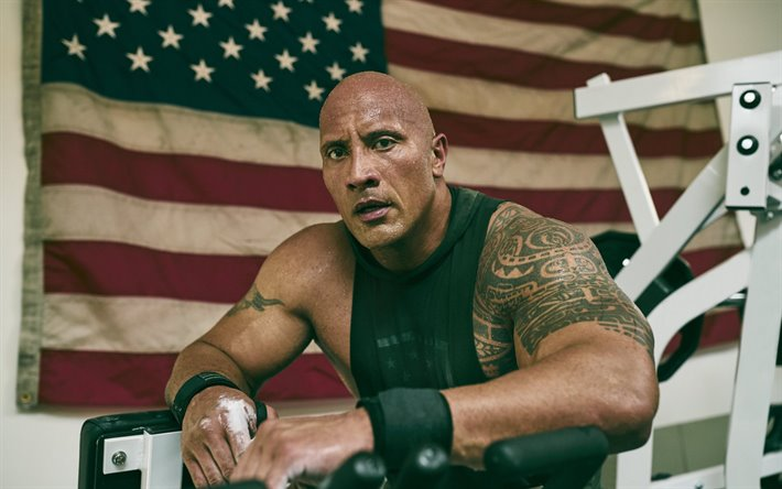 Dwayne Johnson, american wrestler, portrait, american flag, photoshoot, american actor, USA flag, bodybuilding