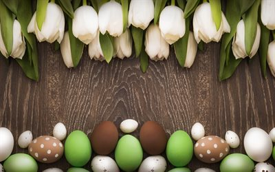 Easter, tulips, easter eggs, white tulips, wooden background