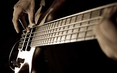 bass guitar, electric guitar, musician, playing guitar concepts