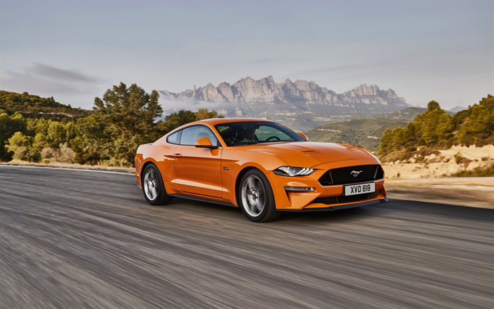 Download Wallpapers Ford Mustang GT Orange Sports Coupe - New american sports cars