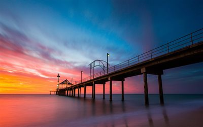 ocean, wooden pier, evening, sunset, coast, Barossa Valley, Australia