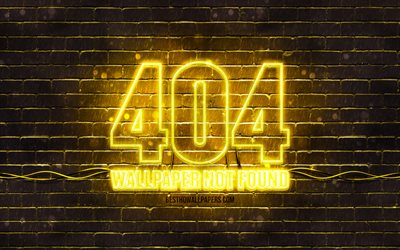 404 Wallpaper not found yellow sign, 4k, yellow brickwall, 404 Wallpaper not found, red blank display, 404 Wallpaper not found neon symbol