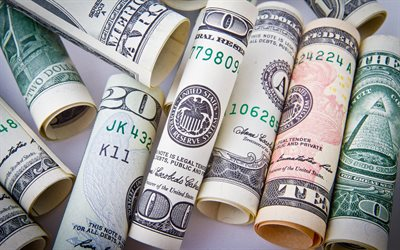 american dollars, money bundles, dollars, finance concepts, money, USA