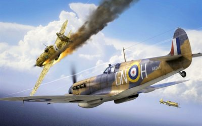 Macchi C202 Folgore, Supermarine Spitfire, WWII aircraft, air battle, World War II, fighters