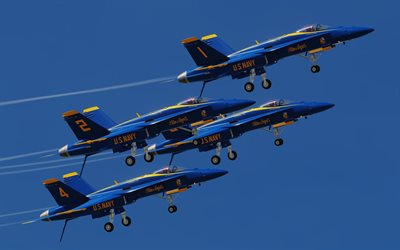 Blue Angels, flight demonstration squadron, Boeing FA-18E/F Super Hornet, US Navy Blue Angels, United States Navy, American military aircraft
