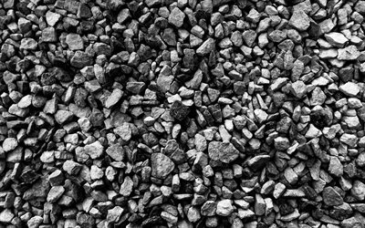 4k, black stones, macro, coarse gravel, black stone texture, gravel backgrounds, gravel textures, pebbles textures, stone backgrounds, brown pebbles, black backgrounds, black gravel texture